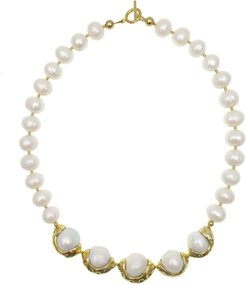 Freshwater Pearls With Golden Plated Bordered Pearl Statement Necklace