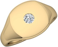 14K Gold Signet Ring With Diamond