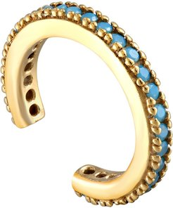 18Ct Gold Vermeil Turquoise Small Cz Cuff Earring