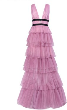 Dark Pink Plunge Front Tulle Layered Maxi Dress