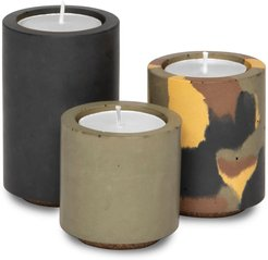 Concrete Tealight Trio Candle Holders With Soy Wax Tealights In Black Dpm Camo & Olive