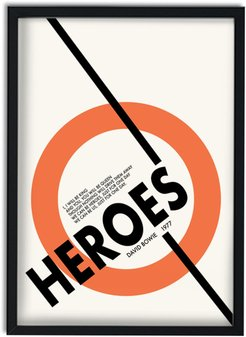 Heroes David Bowie Inspired Retro A3 Art Print