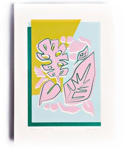 Pink Yellow Botanic Limited Edition Screen Print