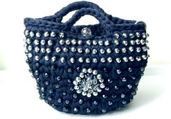 Small Deep Blue Bag with Jewel Embroidery
