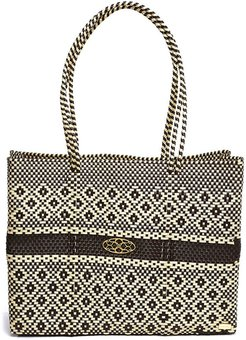 Brown Beige Travel Tote With Clutch