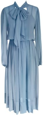 Silk Midi Dress Light Blue - Chris