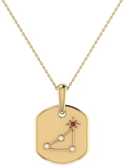 Capricorn Goat Constellation Tag Pendant Necklace In 14 Kt Yellow Gold Vermeil