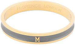 Initial M Bangle 18Ct Gold Plated With Grey Enamel