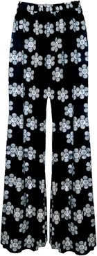 Peggy Palazzo Trousers In Black & White Daisy