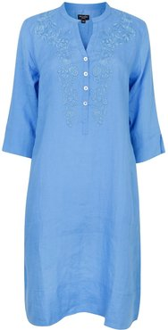 Victoria Embroidered Tunic Dress Blue With Blue