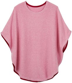 Fliss Cotton Cashmere Reversible Poncho Pink & Cranberry