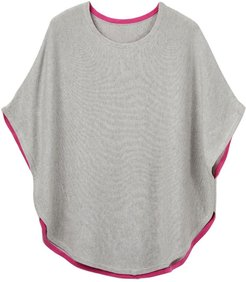 Fliss Cotton Cashmere Reversible Poncho Grey & Pink
