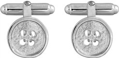 Button Swivel Cufflinks In Silver Matte Textured And Polished Rim