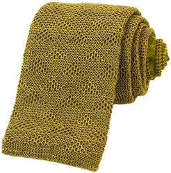 Olive Green Diamonds Linen Knitted Tie