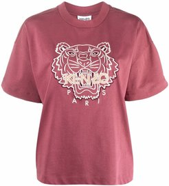 T-shirt con stampa tiger in rosso - donna