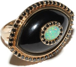 Icon Ring in Onyx/Yellow Gold, Size 4.5
