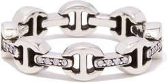 Dame Tri-Link Ring with Diamond Bridges in Sterling Silver/White Diamonds, Size 4