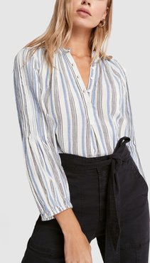 Bravo Pintuck Blouse in Seaside Stripe, Size 0