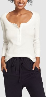 Henley Cotton Shirt in White, X-Small