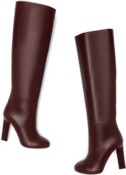 Rise Knee-High Leather Boots in Burgundy, Size IT 36