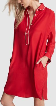 Elsa Night Shirt in Red Silk Charmeuse, X-Small