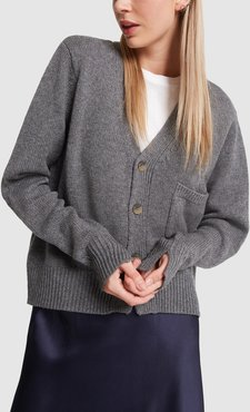 Chunky Wool Cashmere Cardigan in Charcoal, Small