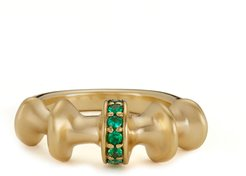 Chrona Band Ring in Yellow Gold/Emeralds, Size 6.5