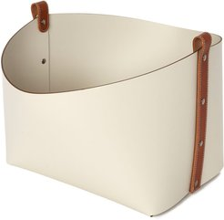 Leather Basket in Camel/Cream