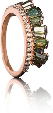 Pleated Crown Ring in Rose Gold/Green Tourmaline, Size 6
