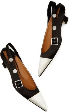 Pointy Slingback Heels in Black/White, Size IT 36