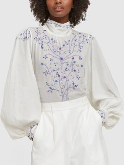 Teresa Embroidered Blouse in White/Blue, X-Small