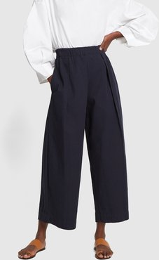 High-Waisted Pleated Cotton Trousers in Navy, X-Small