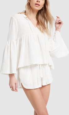 Tash Shorts in White Cotton Gauze, X-Small