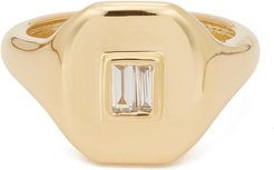 Essential Pinky Ring with Baguette Diamond in Yellow Gold/White Diamond, Size 3