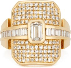 Mixed Diamond Buckle Ring in Yellow Gold/White Diamond, Size 3