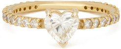 Solitaire Pinky Heart Ring in Yellow Gold/White Diamond, Size 3
