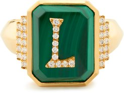 Customizable Monogram Malachite Signet Ring in Yellow Gold/Green, Size 3