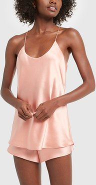 Bella Silk Camisole and French Knicker Set in Peach, Size 1