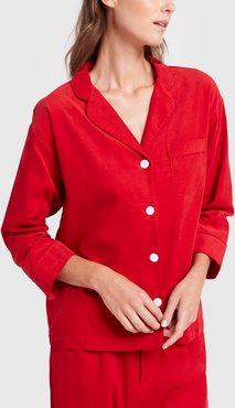 Marina Pajama Shirt in Pinwale Cord Red, X-Small