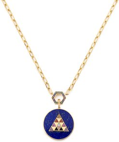 Foundation Necklace with Stone Inlay Medallion in Yellow Gold/Rainbow/Lapis/Multi