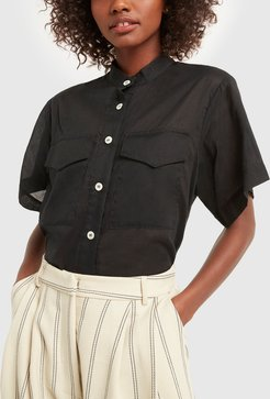 Short Sleeve Shirt in Black, Size UK 6