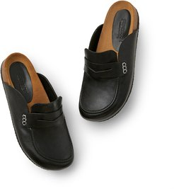 Leather Loafer Mules in Black, Size IT 36