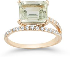Point Of Focus Ring in Yellow Gold/White Diamonds/Green Amethyst, Size 5