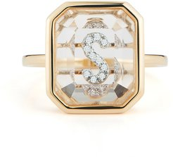 Secret Initial Ring in Yellow Gold/White Diamonds, Size 3