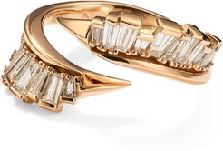 Open Coil Ruched Ring in Rose Gold/White Diamond, Size 6.5