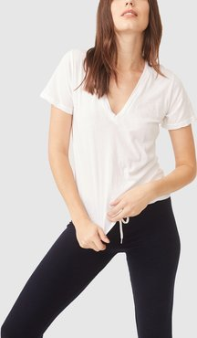 V-Neck T-Shirt in White, X-Small