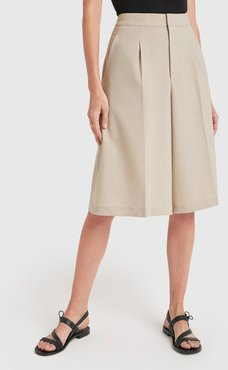 Pleated Culottes in Beige, X-Small