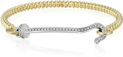 Twist Bangle with Diamond Hook Bracelet in Yellow Gold/White Diamonds