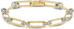 Diamond Chain-Link Bracelet in Yellow Gold/White Diamonds
