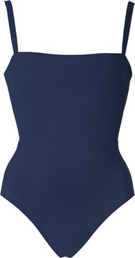 Solid Square-Neck Maillot in Lagoon, X-Small